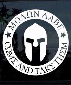Spartan Helmet Molon Labe Come take them Decal sticker