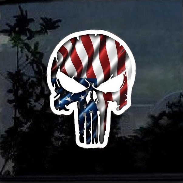 Chris Kyle Punisher American Flag Color Decal Sticker 2 – Custom