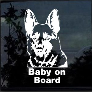 German shepherd baby on board decal sticker