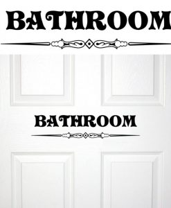 Bathroom Door Scroll Work Decal Sticker