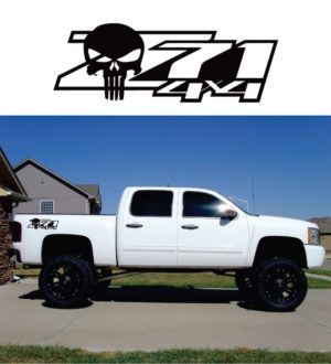 Chevy Z71 z-71 4x4 punisher decal sticker set of 2 13x 4.5