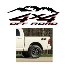 Dodge Ram 4x4 mountains Off Road Decal Sticker set 2 color