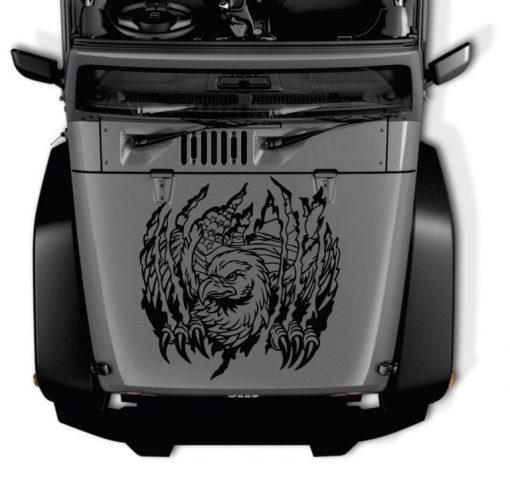 Jeep Hood Eagle Torn American Flag Decal Sticker
