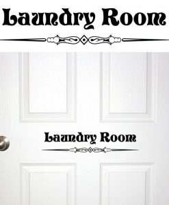 Laundry Room Door Scroll Work Decal Sticker