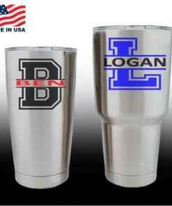 Yeti Decals - Cup Stickers - Custom Varsity Initials and name