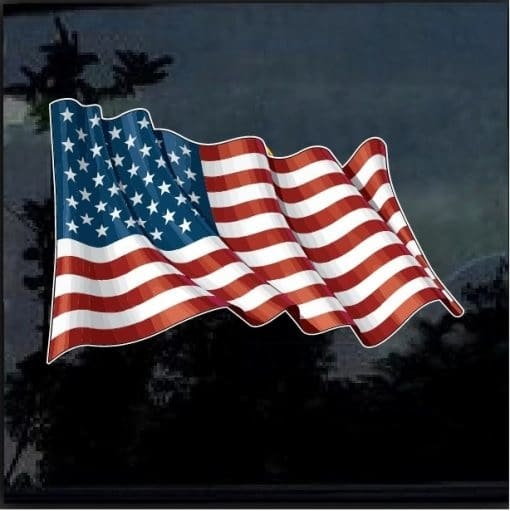 American Flag Waiving Full Color Decal Sticker