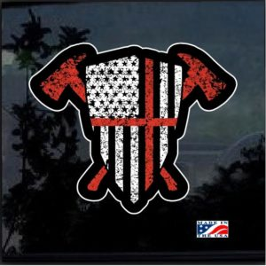 Fireman Axe Flag Shield Full Color Decal Sticker