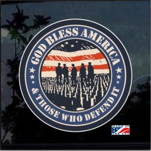 God Bless America and those who served Full Color Decal Sticker