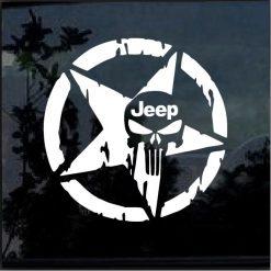 Jeep Punisher Weathered Star window decal sticker