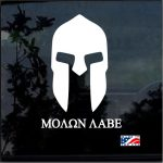 Spartan Helmet Molon Labe Window Decal Sticker A4