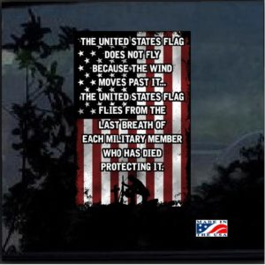 American Flag Soldier Quote Full Color Decal Sticker