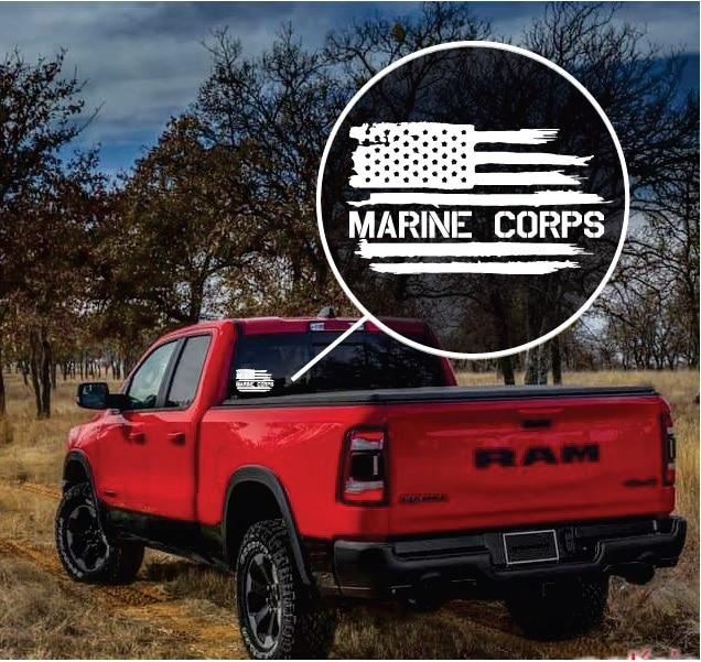 USA AMERICAN FLAG//USMC Vinyl Window Decal Sticker