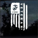 USMC Marine Veteran Weathered American Flag Military Window Decal Stickers