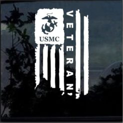 USMC Marine Veteran Weathered American Flag Decal Sticker