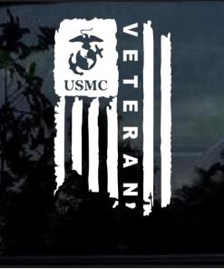 USMC Marine Veteran Weathered American Flag Decal Sticker
