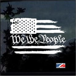 We the People Weathered American Flag Decal Sticker