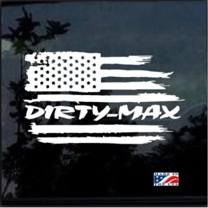 Duramax Dirtymax Weathered American Flag Decal Sticker
