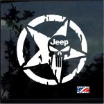 Jeep Weathered Star Punisher Jeep Decal Stickers