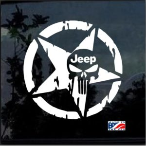 Jeep Weathered Star Punisher Decal Sticker