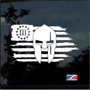 Three Percenter Spartan Weathered American Flag Decal Sticker