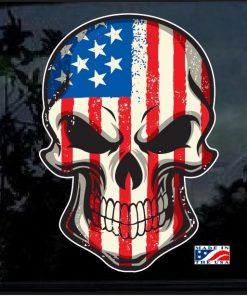 American Flag Skull Full Color Decal Sticker