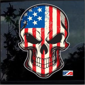 American Flag Skull Full Color Decal Sticker