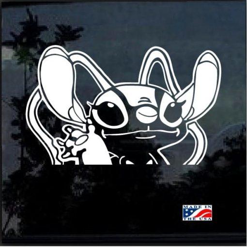 Stitch's Girlfriend Angel Waiving Decal Sticker