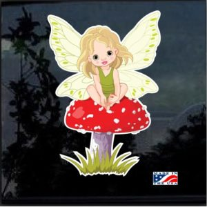 Baby Fairy on Mushroom Full Color 7 Inch Decal Sticker