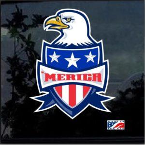 Merica Bald Eagle Shield Full Color 7 Inch Decal Sticker