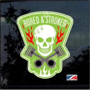 Bored & Stroked Skull Pistons Color Decal Sticker