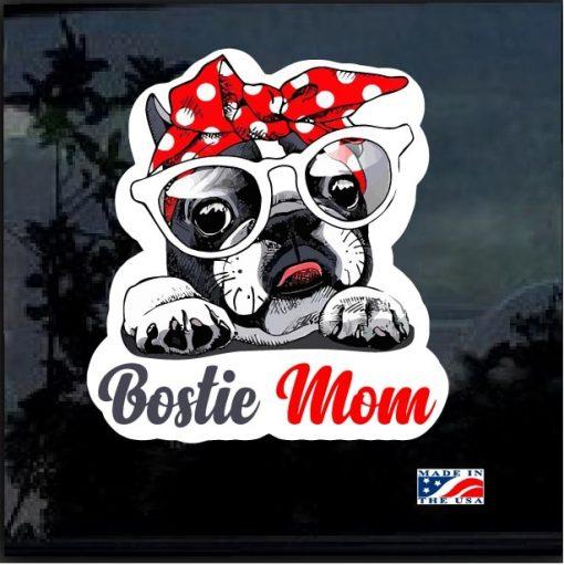 Boston Terrier Mom Full Color Decal Sticker