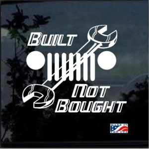 Built Not Bought Wrench Jeep Decal Sticker