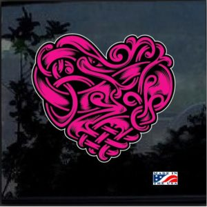 Celtic Pink & Black Heart Full Color Decal Sticker