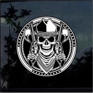 Cowboy Skull With Revolvers Color 7 Inch Decal Sticker
