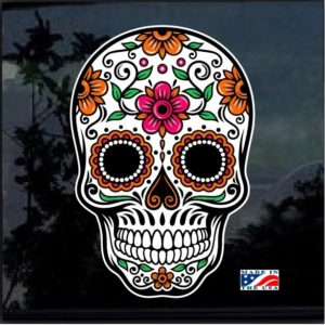 Day Of the Dead Skull Full Color 7 Inch Decal Sticker D1