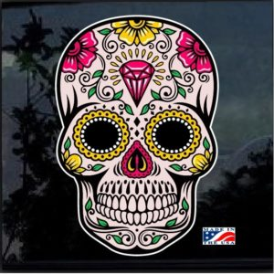 Day Of the Dead Skull Full Color 7 Inch Decal Sticker D2