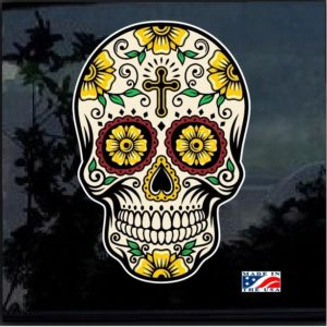 Day Of the Dead Skull Full Color 7 Inch Decal Sticker D3