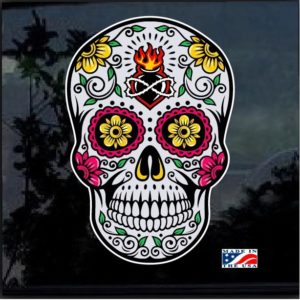 Day Of the Dead Skull Full Color 7 Inch Decal Sticker D4