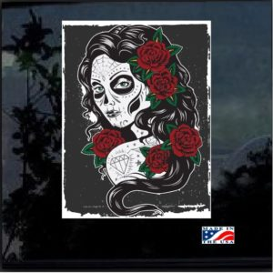 Day of the Dead Woman Full Color Outdoor Decal Sticker