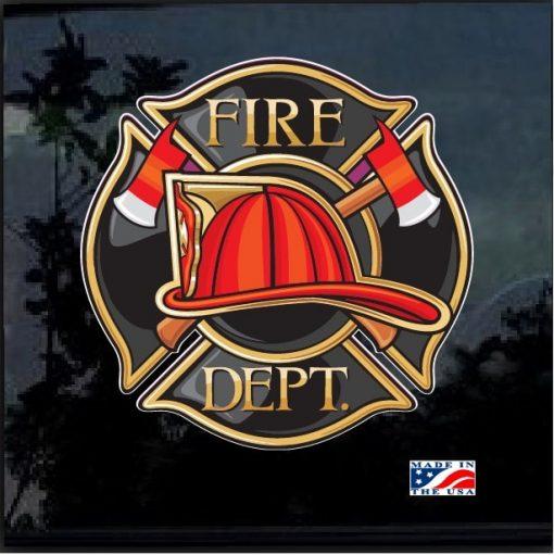 Fireman Fire Dept Full Color Outdoor Decal Sticker
