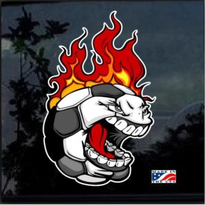 Flaming Baseball Full Color Decal Sticker