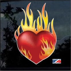 Flaming Heart Full Color Decal Sticker