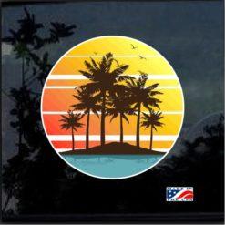 Hawaii Hawaiian Palm Trees Full Color 7 Inch Decal Sticker