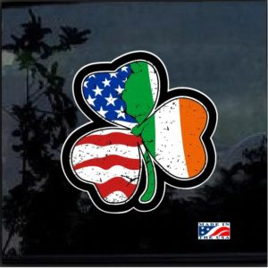 American Irish Shamrock Full Color Decal Sticker