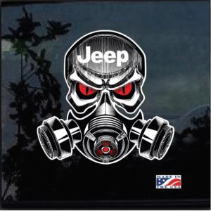 Jeep Skull Gas Mask Full Color Outdoor Decal Sticker