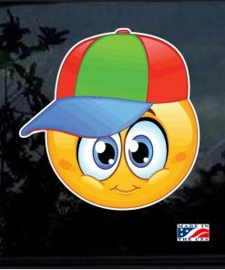 Facebook Emoji Kid with hat Full Color 7 Inch Decal Sticker