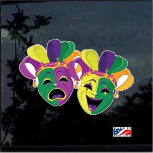 Mardi Gras Comedy Tragedy Masks Color Outdoor Decal Sticker