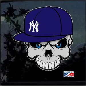 NY Yankees Skull and Cap Color Outdoor Decal Sticker