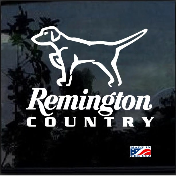 Remington Country Hunting Dog Pointer Hunting Window Decal Sticker
