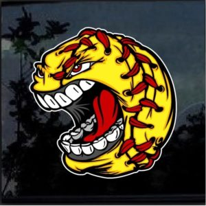 Screaming Softball Full Color Decal Sticker